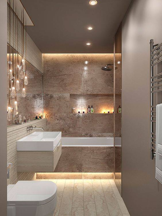 حمامات صغيرة المساحة لكنها بتصميم ذكي وديكورات عصرية وراقية