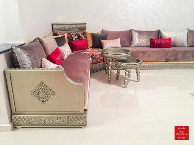 تشكيلة جديدة من الصالونات المغربية بثوب الموبرة بألوان متناسقة