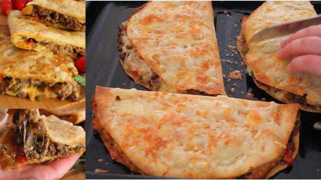 مملحات سريعة في المقلاة بخبز التاكوس وحشوة الكفتة والجبن