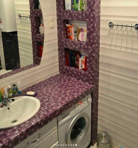 استغلال المساحة الضيقة ووضع آلة التصبين في الحمام