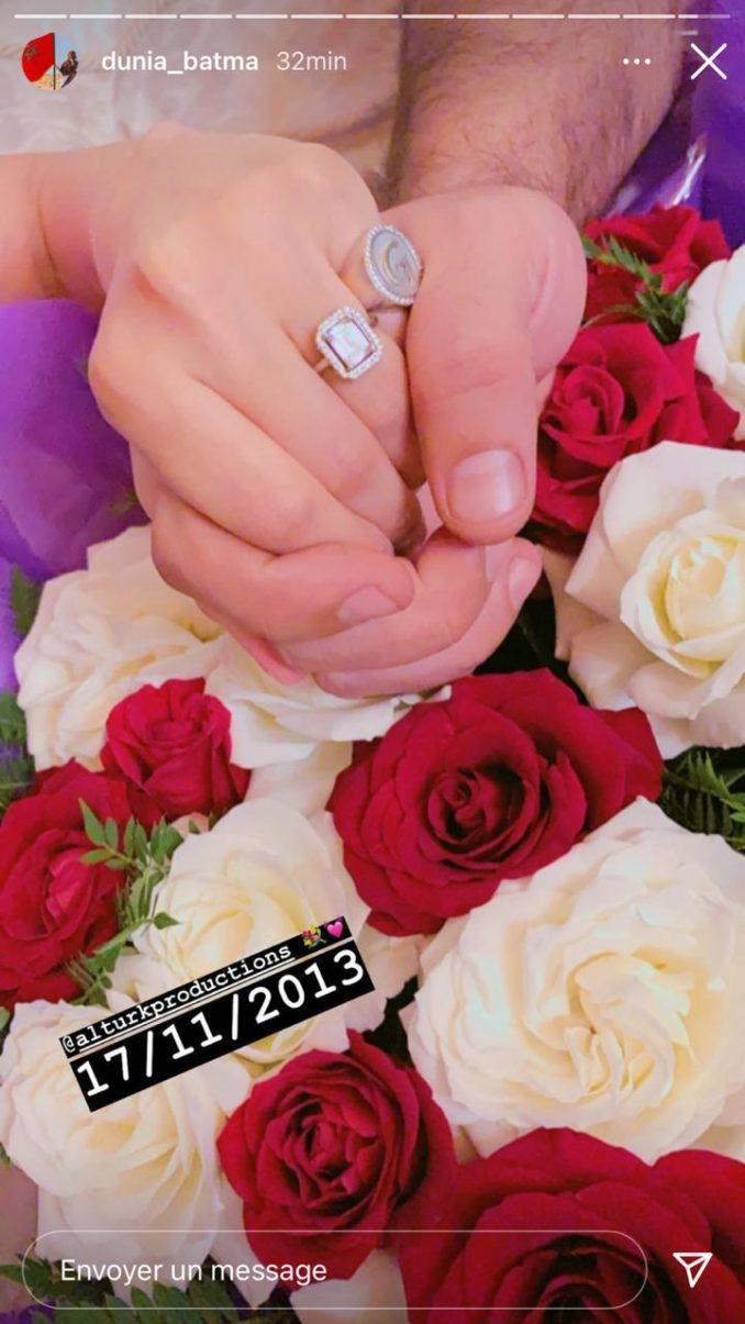 دنيا بطمة و زوجها يحتفلان بذكرى زواجهما السابعة بالورود ورسائل الحب
