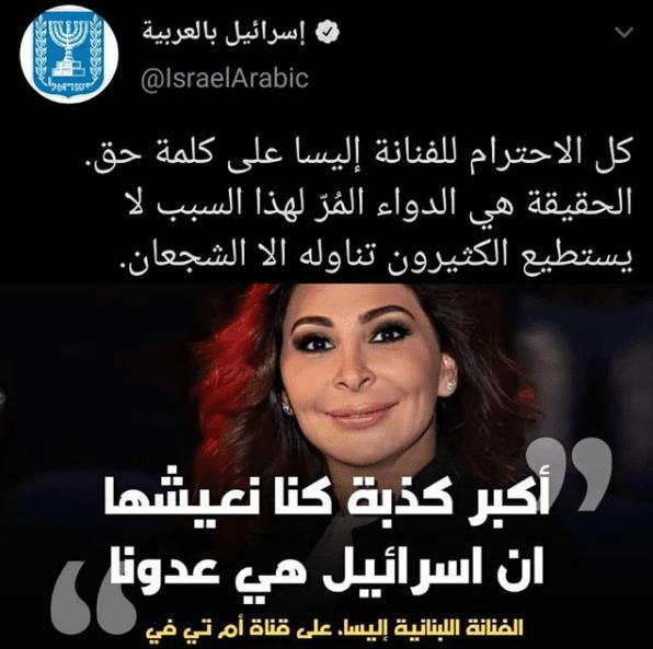 إليسا تثير الجدل بتصريحها: أكبر كذبة كنا نعيشها أن إسرائيل هي عدونا
