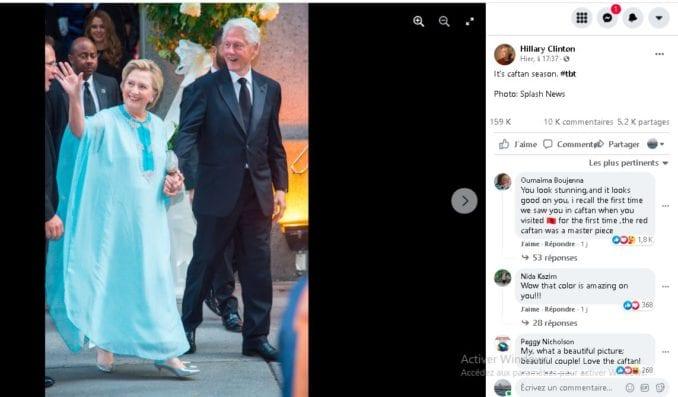 هيلاري كلينطون تحتفي بالقفطان المغربي بنشرها صورة بزي تقليدي على مواقع التواصل الاجتماعي
