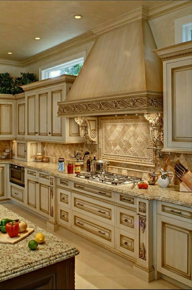 Brown Kitchen Cabinets With Gold Handles