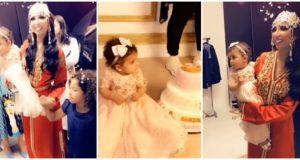 دنيا بطمة تحتفل بعيد ميلاد ابنتها غزل بالدقة المراكشية