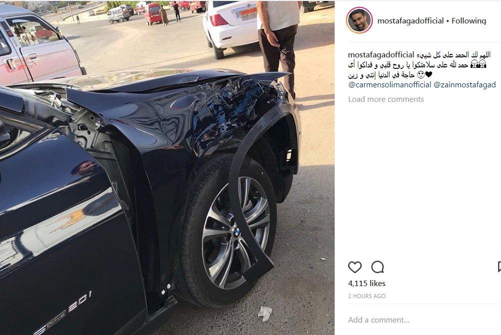 كارمن سليمان تتعرض لحادث سير رفقة طفلها زين