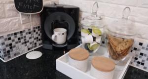 شوفو الركن الخاص بالقهوة اللي صاوبت فالمطبخ عطاه جمالية خاااصة وديكور عصري راائع