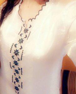 قفطان خفيف بالراندة على ثوب جوهرة أبيض كيجي راقي فاللبسة