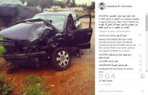 الممثل المغربي أنس الباز ينجو من موت محقق اثر حادثة سير خطيرة و ينشر الصورة على انستغرام